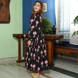 Black Pink Butta Cotton Dress