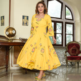 Handpainted Yellow Cotton Dress
