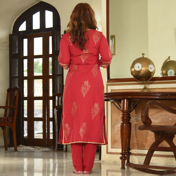 Red Doriya Sleeves Kurta Set