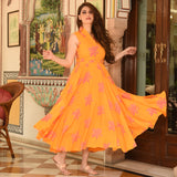 Warm Orange Cotton Dress