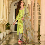 Bright Green Grey Cotton Suit