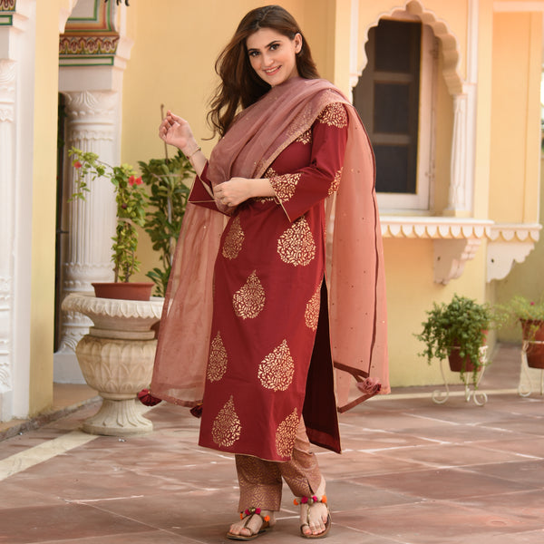 Ash Rose Cotton Suit Set