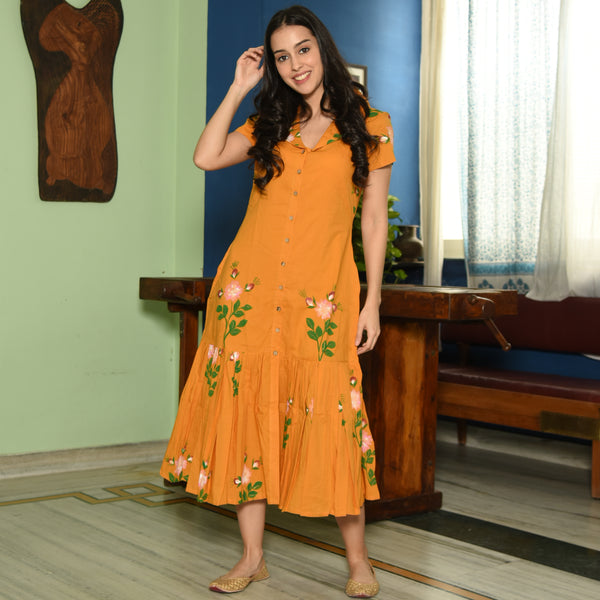 Turmeric Handpainted Dress
