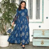 Blue ethnic cotton dress