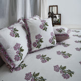 Purple Print Cotton Printed Bedsheet