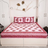 Cotton printed bed sheet with pillow cover