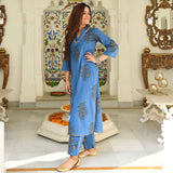 Faience Blue Cotton Kurta Set