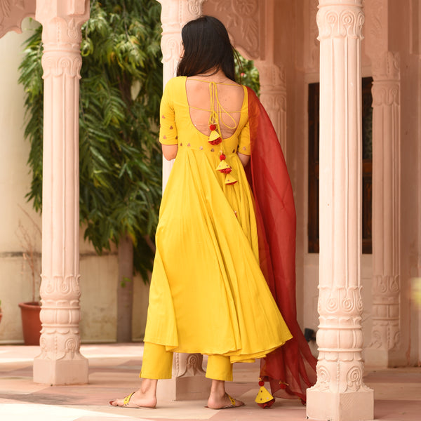 Yellow Maroon Cotton Suit