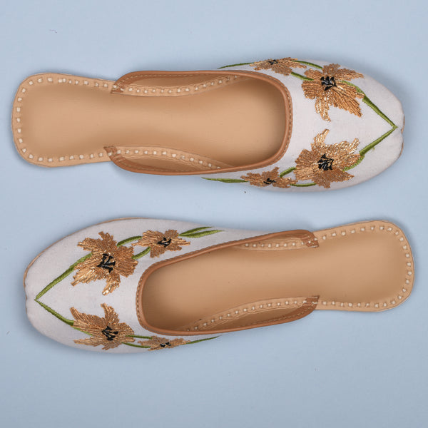 golden white Indian footwear for women