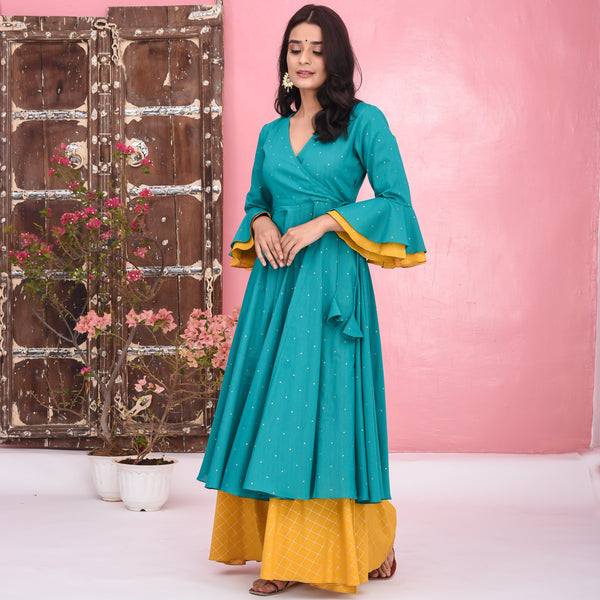 Green Yellow Cotton Kurta Set
