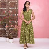 Mehendi Green Cotton Dress