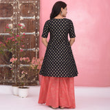 Black Peach Cotton Kurta Set