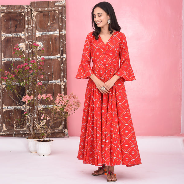 Bhandhani Print Cotton Dress