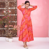 Multi Bhandhej Print Cotton Dress