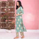 Stripes Floral Cotton Kurta Set