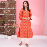 Red Cream Cotton Kurta Set