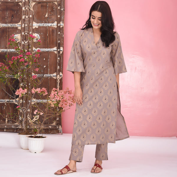 Grey Cotton Kurta Set