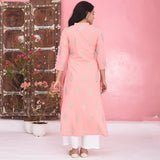 Bright Peach Cotton Kurta Set