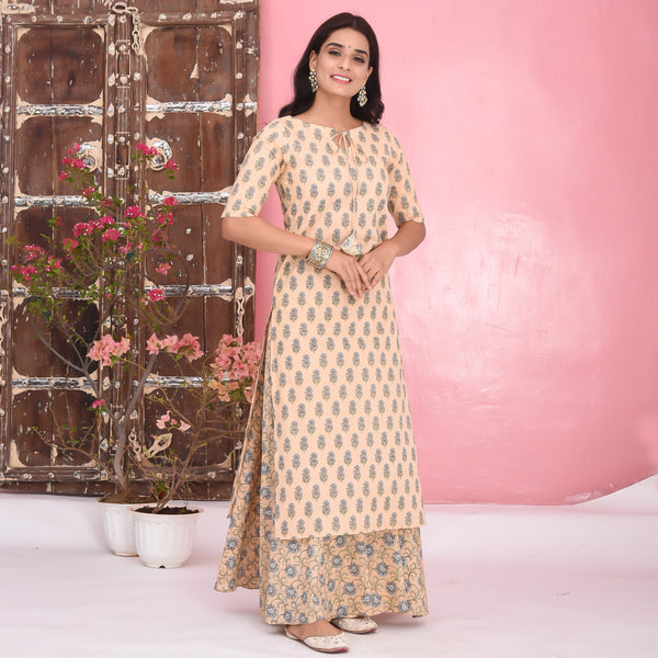Mix Print Cotton Kurta Set