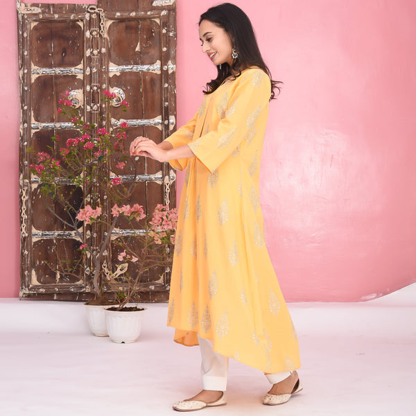 White Yellow Cotton Kurta Set
