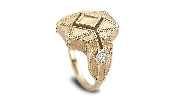 Geometric shaped milgrain ring with diamonds - shiri tam fine jewelry