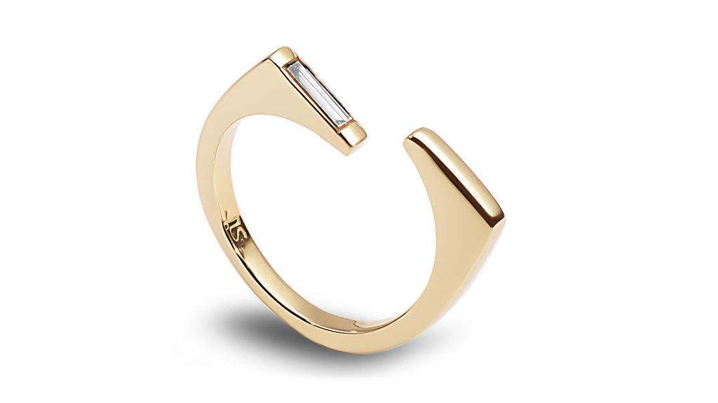 Baguette diamond open bar gold ring - shiri tam fine jewelry
