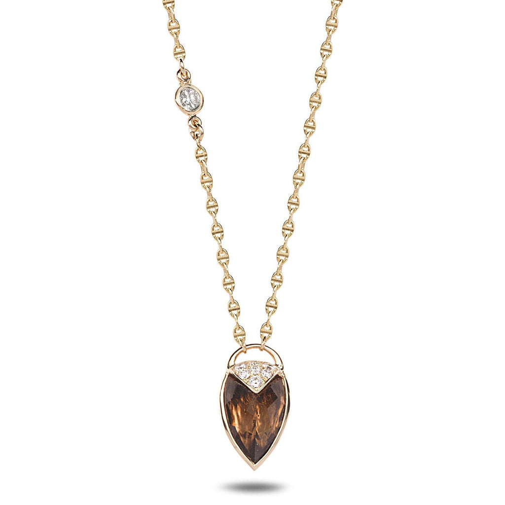 Smoky Quartz facets shield necklace with diamonds - shiri tam fine jewelry