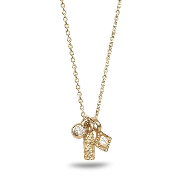 Triple pendants necklace with diamonds - shiri tam fine jewelry