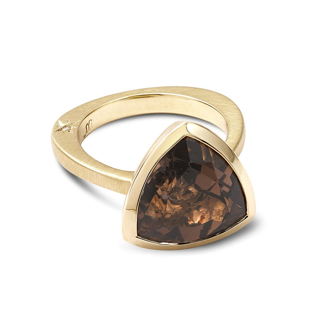 Trilliant Smoky Quartz ring with star-set diamonds. - shiri tam fine jewelry