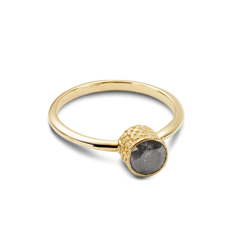 Emgagement texture ring with dark gray diamond. - shiri tam fine jewelry