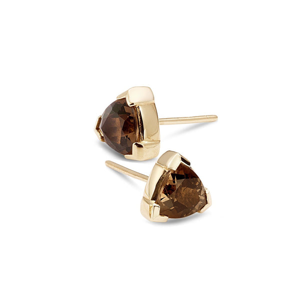 Trilliant Smoky Quartz stud earrings - shiri tam fine jewelry