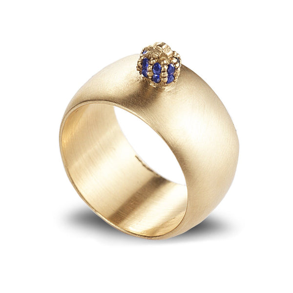 Wide low dome ring with blue sapphires - shiri tam fine jewelry
