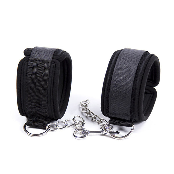 Soft Nylon Metal Chain Sponge Handcuffs Restraints Sex Bondage Ankle Cuffs