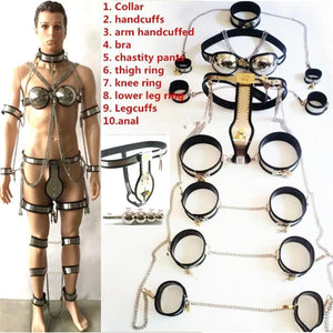 10 In 1 Set Stainless Steel Chastity Belt Bondage kit