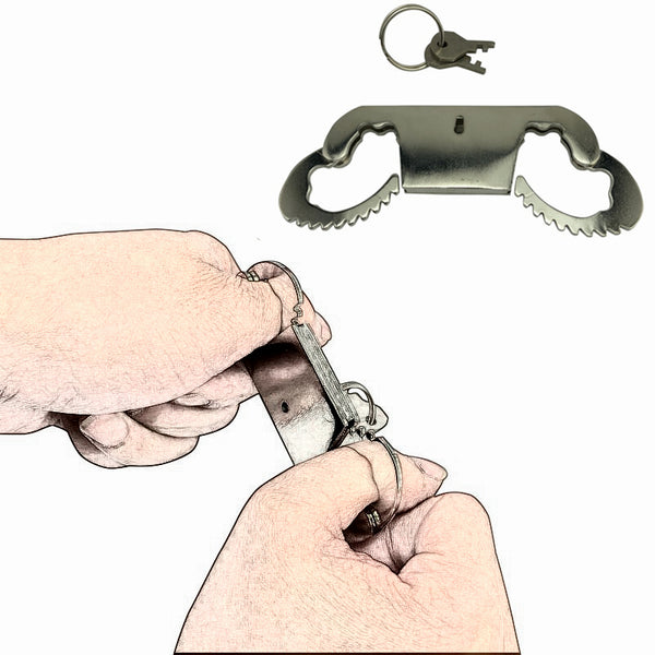 Stainless Steel Thumb Cuffs with Key Bondage Metal Handcuffs Slave Restraints for BDSM Game
