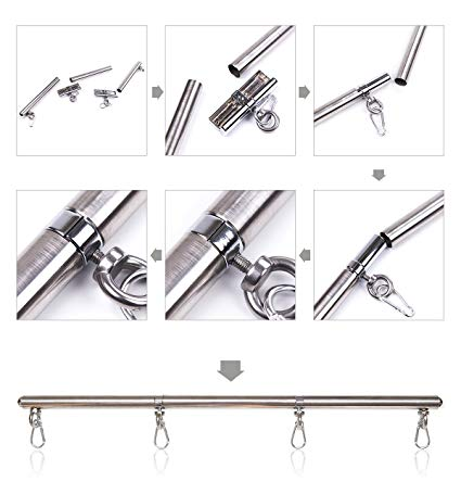 Metal Spreader Bar Wrist/ Hands Cuffd Ankle Cuffs Bondage Restraint Doggy Role Play BDSM Adults Toys
