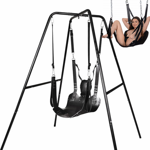 Metal Frame Sex Swing With Leather Hammock Props For More Sex Position And Bondage Restraints