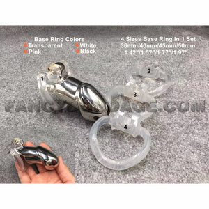Metal-to-Resin Combination Chastity Cage with 4 Sizes Base Ring in 1 Set
