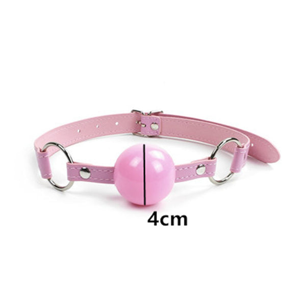 Plastic Ball Mouth Gag Oral Fixation PU Leather Band Bondage Restraints Sex Toys for Couples