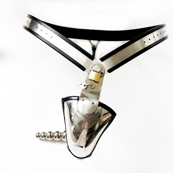 Stainless Steel Chastity Belt With Anal Plug