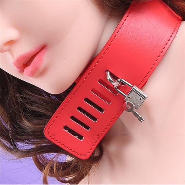 PU Leather Detachable Back Handcuffs With Slave Neck Collar Bondage Restraint Kit For SM Games