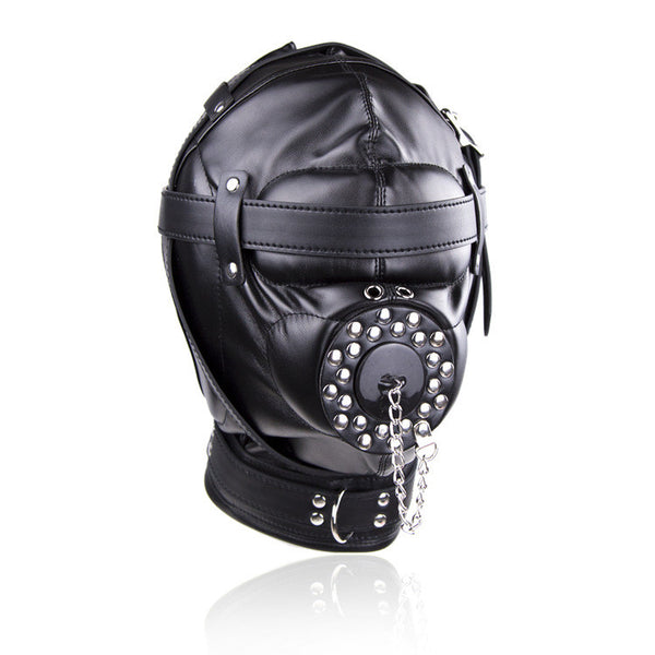 Bondage Restraint Sex Toys Headgear With Gag BDSM Erotic PU Leather Sex Hood Mask Adult Games Sex SM Mask For Couples