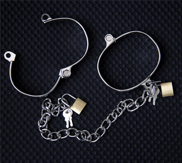 Metal Bondage Gear Lockable Shackles Zinc Alloy Hand Cuffs Ankle Cuffs Bdsm Bondage Restraints Device