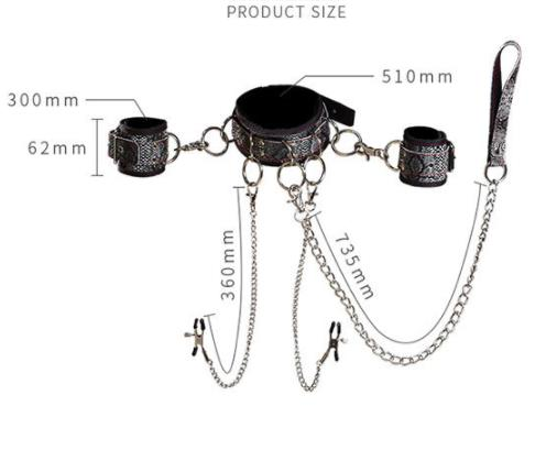 BDSM Restraint Bondage Kit Handcuffs Nipplie Clip Tuning Tools
