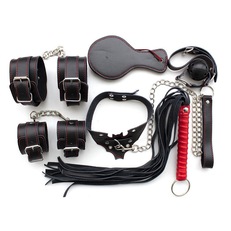 Leather Bondage Kit 6 In 1 Set Handcuff Anklecuffs Whip Sex Paddle Collar Mouth Gag
