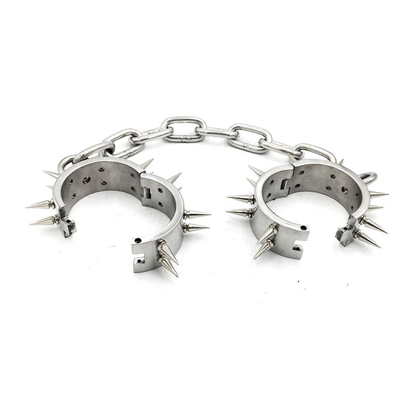 Stainless Steel Anklecuffs with 2 Rows Spikes