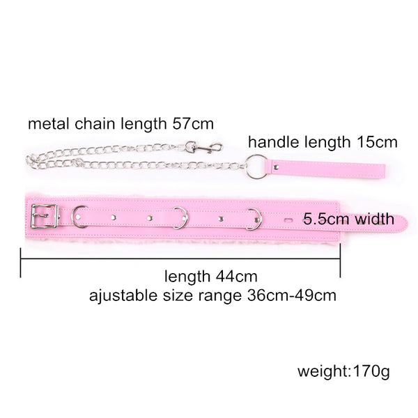 Pink Leather Soft Fluff Neck Collar Erotic Toys for Bondage