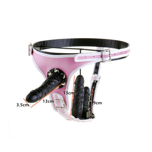 Adjustable PU Leather Strap On Strapon Restraint Pants Harness With 3 Removable Dildo For Anal Vaginal(Pink/White)