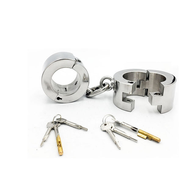 Heavy Duty Thick Style Stainless Steel Bolt Locked Handcuffs 4CM/6CM Height