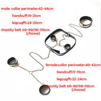 4pcs/Set Bondage Set Handcuffs For Sex Ankle Cuffs Collar Bdsm Kit Chastity Belt Sex Restraints Bdsm Tools